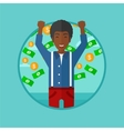 Happy man with flying money vector image