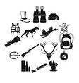 hunting black simple icons vector image vector image