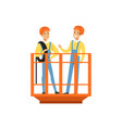 male miners in uniform standing in mine lift vector image vector image