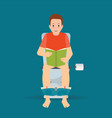man sitting on toilet bowl and reading a book vector image