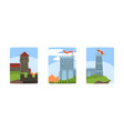 medieval stone castles and towers with flags vector image vector image