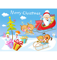 Merry Christmas design with Santa Claus Sleigh vector image vector image