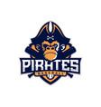 modern professional emblem pirates monkey vector image vector image