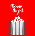 movie night popcorn film strip line pop corn box vector image