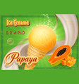 papaya ice cream advertising design vector image vector image