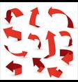 red ribbon arrow set arrow stickerst various vector image vector image