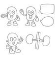 set of kidney cartoon vector image vector image