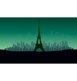 silhouette of eiffel tower with green backgrounds vector image