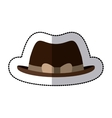 sticker lace brown hat with bow retro design vector image vector image