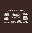 stock set fast food icons and elements vector image vector image