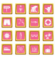 surfing icons pink vector image vector image