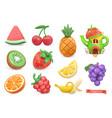 sweet fruits icon set watermelon kiwi orange vector image