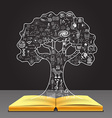tree concept on book vector image vector image