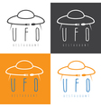 ufo spaceship with fork and spoon concept vector image vector image