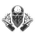 vintage monochrome gangster skull vector image vector image