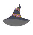 witchs hat with a purple ribbon quilted vector image