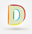 Alphabet letter D Watercolor paint design element vector image vector image