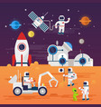 astronauts characters set in flat cartoon style vector image vector image
