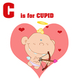 Baby cupid cartoon with letter vector image vector image