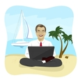 Businessman using laptop on tropical beach vector image