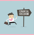 businessman with financial freedom sign vector image vector image