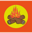 campfire cartoon style - crossed logs and fire vector image