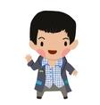 Cartoon casual little boy kid flat icon vector image