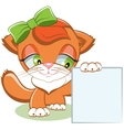 Cat holding a blank sheet of paper vector image vector image