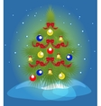 Christmas tree and a snowfall EPS10 vector image vector image