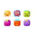 collection of cute buttons colorful cubes with vector image