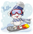 cute cartoon bear on a snowboard vector image vector image