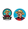 farmer with hat symbol farm agriculture vector image vector image