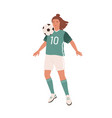female football player hitting ball with chest vector image vector image