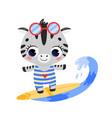 flat doodle cute cartoon summer surfing zebra vector image
