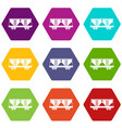freight railroad car icon set color hexahedron vector image vector image