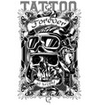 graphic tattoo poster design with skull and text vector image
