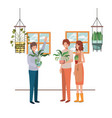 group people with houseplant avatar character vector image vector image