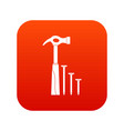 hammer and nails icon digital red vector image vector image