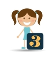 happy girl student school number icon vector image