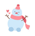 happy snowman in knitted hat scattering hearts vector image vector image