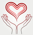 holding abstract heart in hands vector image