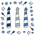 lighthouse icon set layered vector image vector image