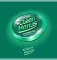 logo clean hands spray sanitizer hands label aloe vector image vector image