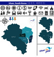 map of ulsan with districts south korea vector image vector image