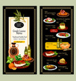 menu prices of greek cuisine restaurant vector image vector image