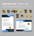 modern blue corporate certificate with badge vector image