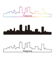 Nagoya skyline linear style with rainbow vector image vector image