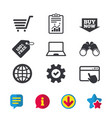 online shopping icons notebook pc cart buy