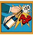 opening champagne bottle pop art retro style vector image