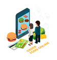 order food online isometric vector image vector image